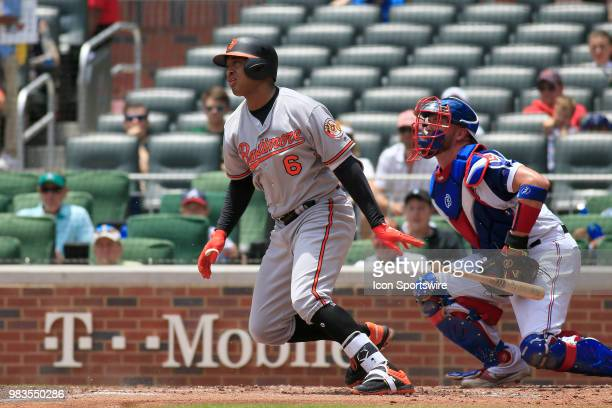 Baltimore Orioles Second baseman Jonathan Schoop watches his hit ball during the MLB game between the Atlanta Braves and the Baltimore Orioles on...
