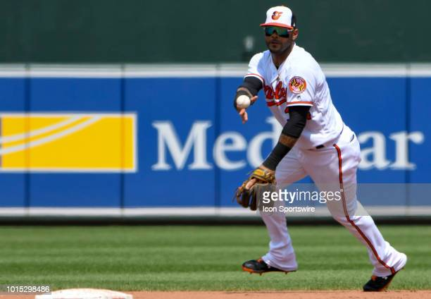 Baltimore Orioles second baseman Jonathan Villar fields ground ball and tosses the ball to second base to start a double play during the game between...