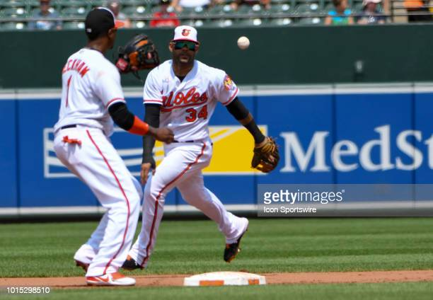 Baltimore Orioles second baseman Jonathan Villar fields ground ball and tosses the ball to shortstop Tim Beckham to start a double play during the...