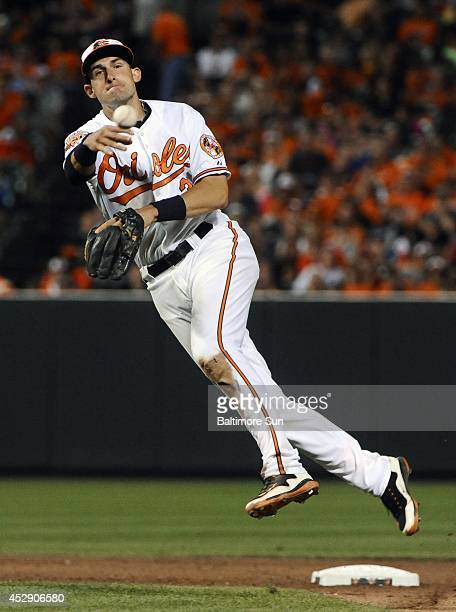 Baltimore Orioles second baseman Ryan Flaherty throws out the Los Angeles Angels' David Freese in the sixth inning at Oriole Park at Camden Yards in...