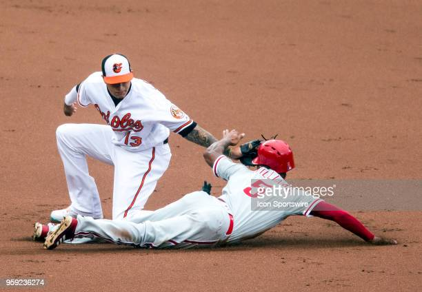 Baltimore Orioles shortstop Manny Machado has Philadelphia Phillies right fielder Nick Williams out stealing at second in the second inning during a...