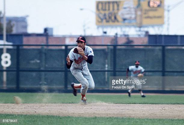 Baltimore Orioles' shortstop Mark Belanger fields a ground ball during the1969 World Series against the New York Mets at Shea Stadium in Flushing NY