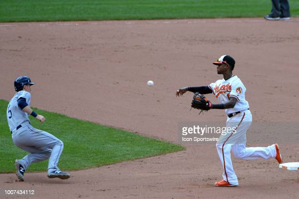 Baltimore Orioles shortstop Tim Beckham forces out Tampa Bay Rays third baseman Matt Duffy to complete a double play during the game between the...