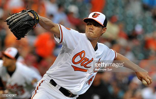 Baltimore Orioles starter WeiYin Chen pitches against the Texas Rangers at Oriole Park at Camden Yards in Baltimore Maryland Wednesday July 10 2013