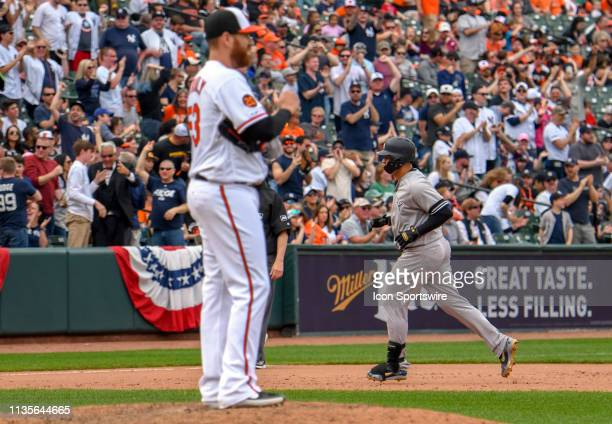 Baltimore Orioles starting pitcher Dan Straily stands on the mound after giving up a home run to New York Yankees catcher Gary Sanchez during the...