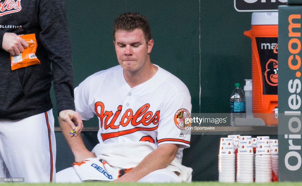 Baltimore Orioles starting pitcher Dylan Bundy (37) in the dugout after giving up 10 runs in the first inning during an American League MLB game between the Baltimore Orioles and the Kansas City Royals on May 08, 2018, at Oriole Park at Camden Yards, in Baltimore, Maryland.