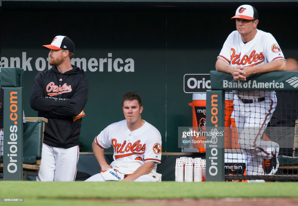 Baltimore Orioles starting pitcher Dylan Bundy (37) in the dugout after giving up 10 runs in the first inning during an American League MLB game between the Baltimore Orioles and the Kansas City Royals on May 08, 2018, at Oriole Park at Camden Yards, in Baltimore, Maryland. The Royals defeated the Orioles 15-7.