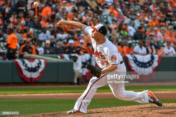 Baltimore Orioles starting pitcher Dylan Bundy pitches during the Opening Day game between the Minnesota Twins and the Baltimore Orioles on March 29...