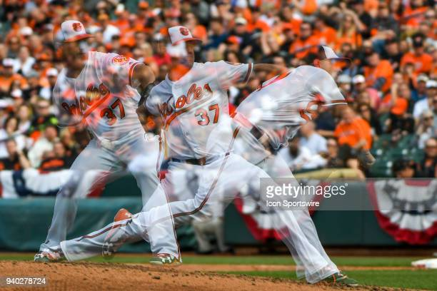 Baltimore Orioles starting pitcher Dylan Bundy pitches in an in camera multiple expsoure during the Opening Day game between the Minnesota Twins and...