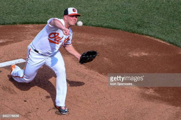 Baltimore Orioles starting pitcher Dylan Bundy pitches in the first inning during the Opening Day game between the Minnesota Twins and the Baltimore...