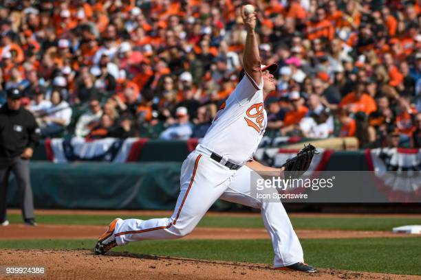 Baltimore Orioles starting pitcher Dylan Bundy pitches in the fourth inning during the Opening Day game between the Minnesota Twins and the Baltimore...
