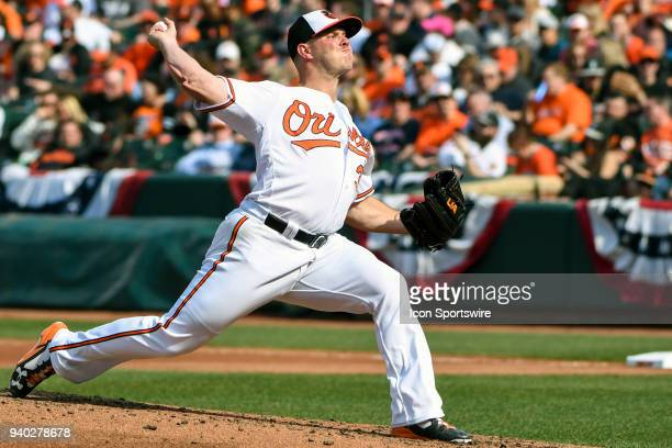 Baltimore Orioles starting pitcher Dylan Bundy pitches in the third inning during the Opening Day game between the Minnesota Twins and the Baltimore...
