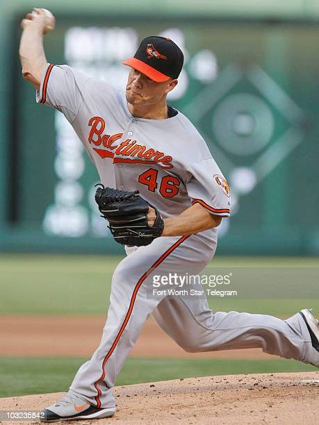 Baltimore Orioles starting pitcher Jeremy Guthrie works in the first inning against the Texas Rangers at Rangers Ballpark in Arlington Texas on...
