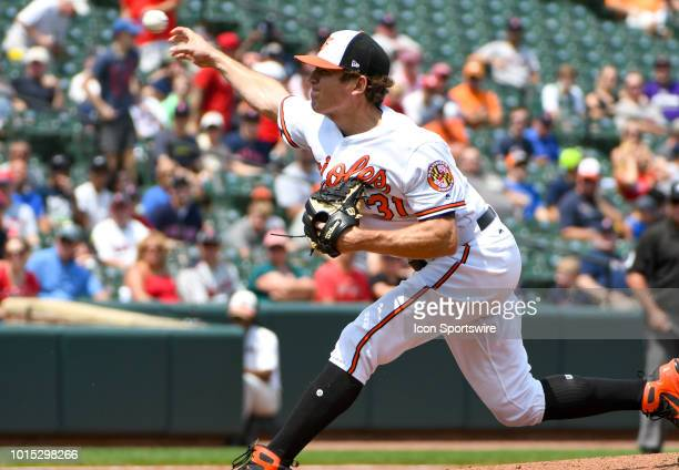 Baltimore Orioles starting pitcher Jimmy Yacabonis pitches in the first inning during the game between the Boston Red Sox and the Baltimore Orioles...