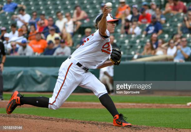 Baltimore Orioles starting pitcher Jimmy Yacabonis pitches in the third inning during the game between the Boston Red Sox and the Baltimore Orioles...