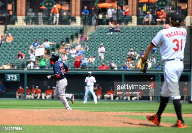 Baltimore Orioles starting pitcher Jimmy Yacabonis stands on the mound after giving up a two run home run to Boston Red Sox third baseman Eduardo...