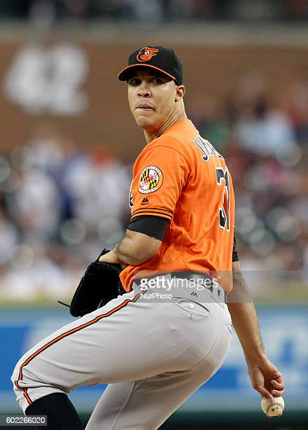 Baltimore Orioles starting pitcher Ubaldo Jimenez pitches the first inningof a baseball game against the Baltimore Orioles in Detroit Michigan USA on...