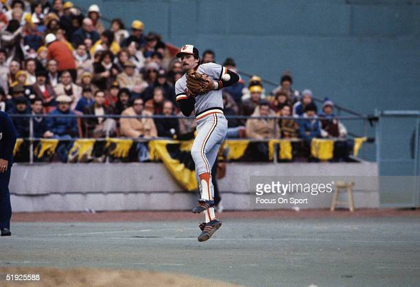 Baltimore Orioles' third baseman Doug DeCinces jumps to catch a ball during the World Series against the Pittsburgh Pirates at Three Rivers Stadium...