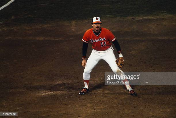 Baltimore Orioles' third baseman Doug DeCinces prepares to field a ball against the Pittsburgh Pirates during the World Series at Memorial Stadium in...