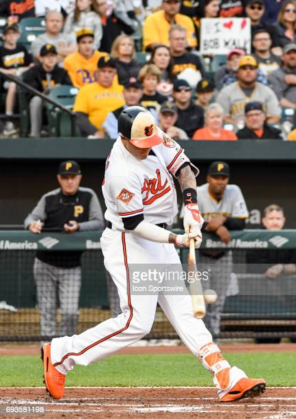 Baltimore Orioles third baseman Manny Machado hits into a double play in the first inning against the Pittsburgh Pirates during an MLB game between...
