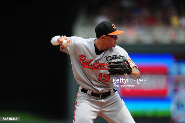 Baltimore Orioles third baseman Manny Machado throws out a Minnesota Twins runner at first base in the sixth inning of their Major League Baseball...
