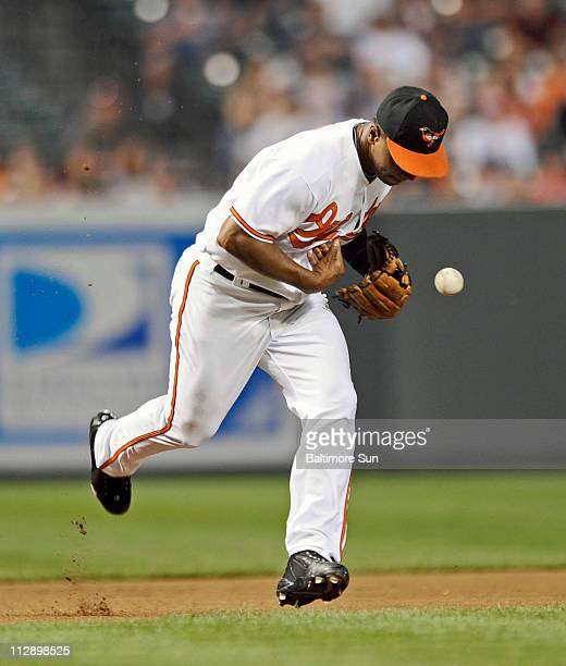 Baltimore Orioles third baseman Melvin Mora committed an error to allow Seattle Mariners' Adrian Beltre to reach base in the fourth inning at Oriole...