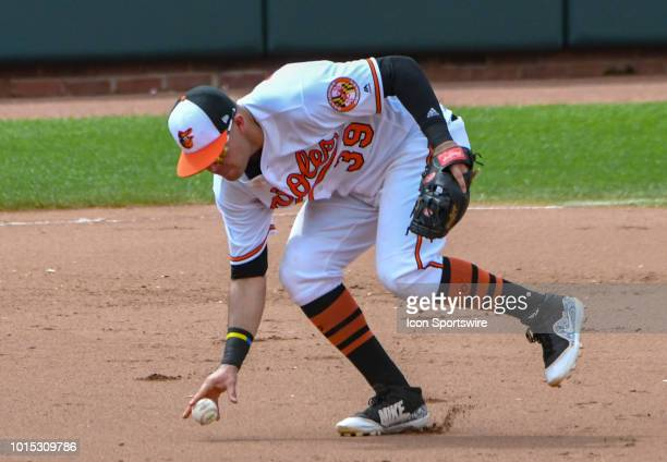 Baltimore Orioles third baseman Renato Nunez fields a ground ball off of his body during the game between the Boston Red Sox and the Baltimore...