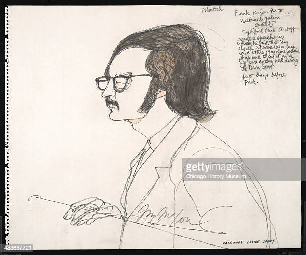 Baltimore Police Cadet Frank Kujawa III testifies against Abbie Hoffman in a courtroom illustration during the trial of the Chicago Eight Chicago...