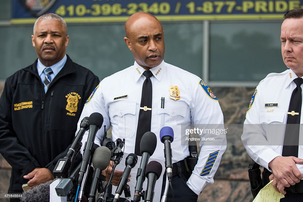 Baltimore Police Commissioner Anthony Batts (C) speaks at a press conference regarding the death of Freddie Gray on April 30, 2015 in Baltimore, Maryland. It was announced that the van carrying Gray had stopped a second, previously undisclosed, time. Baltimore has seen days of rioting since Gray's death while in police custody.