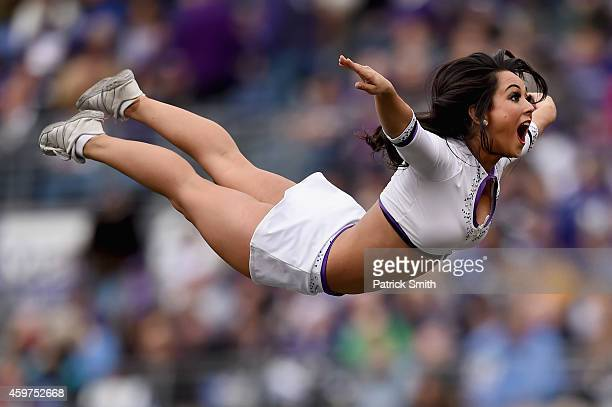 Baltimore Ravens chearleaders perform during a break in the action as the Baltimore Ravens take on the San Diego Chargers at M&T Bank Stadium on...