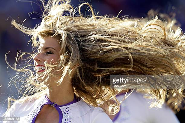 Baltimore Ravens cheerleader preforms during the first half of the Ravens and Indianapolis Colts game at MT Bank Stadium on December 11 2011 in...