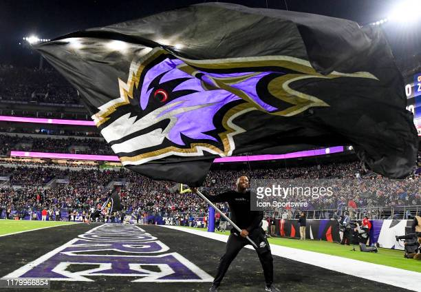 Baltimore Ravens cheerleader waves a flag following a touchdown by the Baltimore Ravens against the New England Patriots on November 3 at MT Bank...