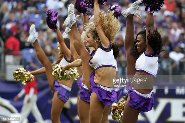 Baltimore Ravens cheerleaders perform during the Baltimore Ravens and Oakland Raiders game at MT Bank Stadium on October 2 2016 in Baltimore Maryland