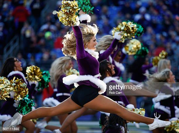Baltimore Ravens cheerleaders perform during the Ravens and Kansas City Chiefs game at MT Bank Stadium on December 20 2015 in Baltimore Maryland