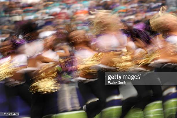Baltimore Ravens cheerleaders perform during the second quarter of a game against the Miami Dolphins at MT Bank Stadium on December 4 2016 in...