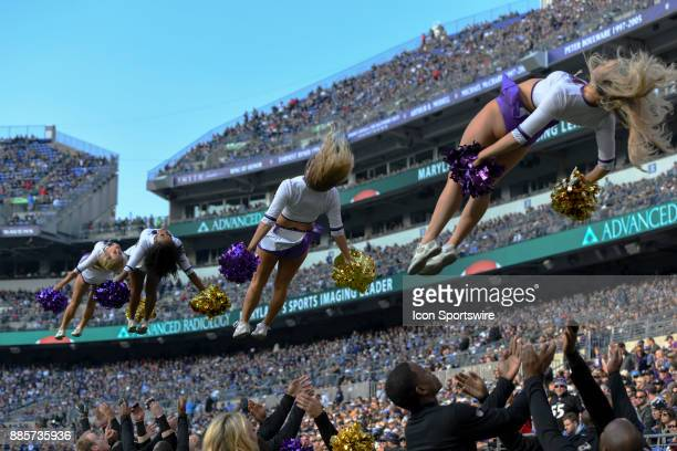 Baltimore Ravens cheerleaders perform on December 3 at MT Bank Stadium in Baltimore MD The Baltimore Ravens defeated the Detroit Lions 4420