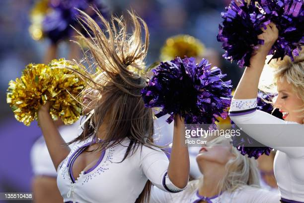 Baltimore Ravens cheerleaders preform during the first half of the Ravens and Indianapolis Colts game at MT Bank Stadium on December 11 2011 in...