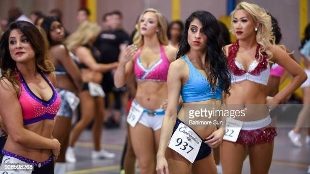 Baltimore Ravens cheerleading hopefuls listen to instructions and get ready to learn the choreography routine The Baltimore Ravens held cheerleader...