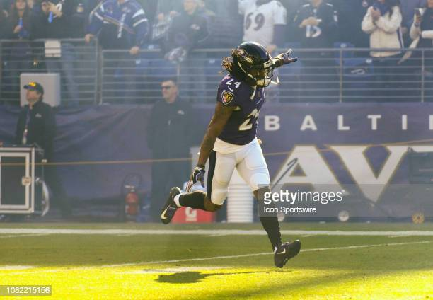 Baltimore Ravens cornerback Brandon Carr takes the field for the game against the Los Angeles Chargers on January 6 at MT Bank Stadium in Baltimore MD