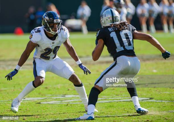 Baltimore Ravens defensive back Marlon Humphrey makes sure Oakland Raiders wide receiver Seth Roberts doesn't get passed him during the regular...
