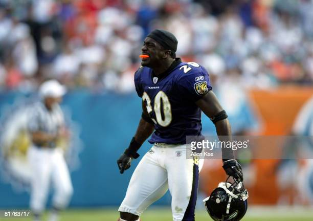 Baltimore Ravens Defensive End Ed Reed in action against the Miami Dolphins at Pro Player Stadium in Miami Florida November 16 2003 The Dolphins...