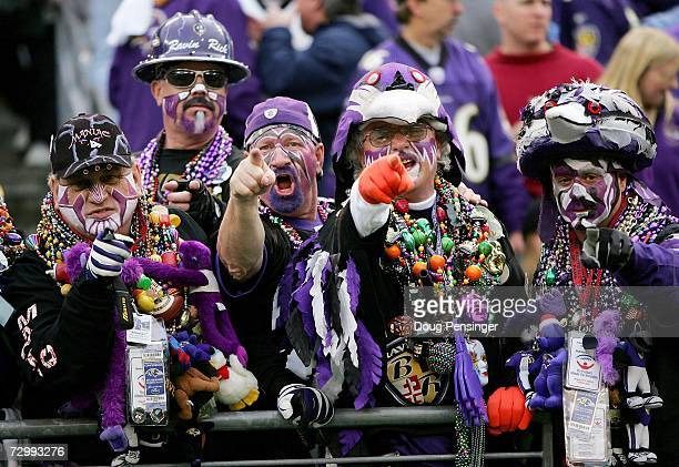 Baltimore Ravens' fans cheer before taking on the Indianapolis Colts in their AFC Divisional Playoff game on January 13 2007 at MT Bank Stadium in...