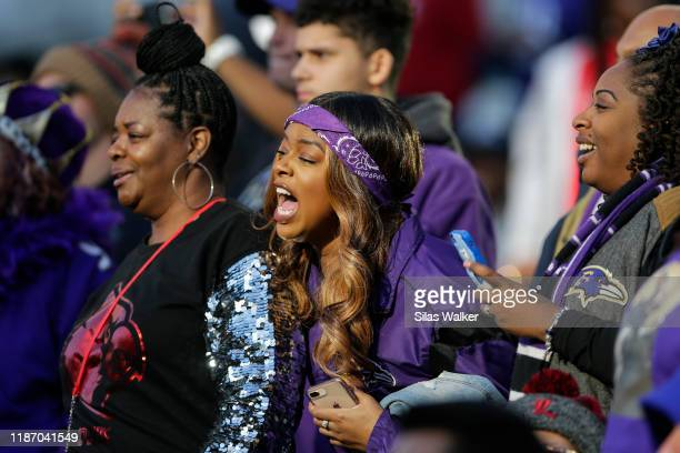 Baltimore Ravens fans shout during the third quarter of the game against the Cincinnati Bengals at Paul Brown Stadium on November 10, 2019 in...
