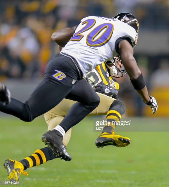Baltimore Ravens free safety Ed Reed is assessed a penalty for a helmet to helmet hit on Pittsburgh Steelers wide receiver Emmanuel Sanders in the...
