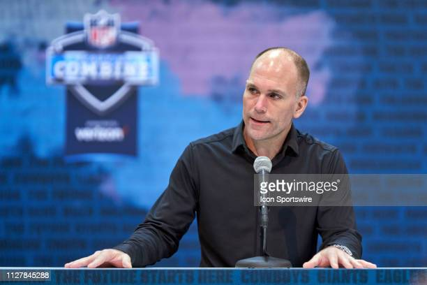 Baltimore Ravens general manager Eric DeCosta speaks to the media during the NFL Scouting Combine on February 27 2019 at the Indiana Convention...