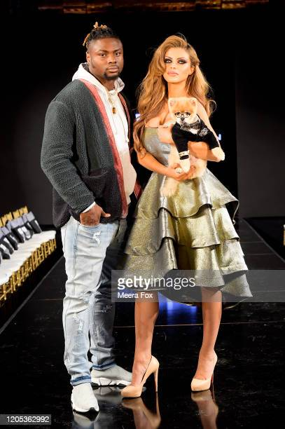 Baltimore Ravens Gus Edwards and Miya Alaoui attend New York Fashion Week Powered by Art Hearts Fashion NYFW February 2020 Front Row – February 9 at...