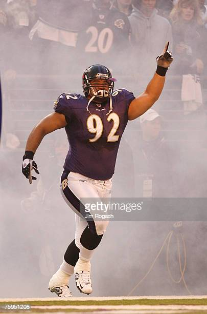 Baltimore Ravens' Haloti Ngata enters the field before the start of AFC playoff competition against the Indianapolis Colts at M&T Bank Stadium,...