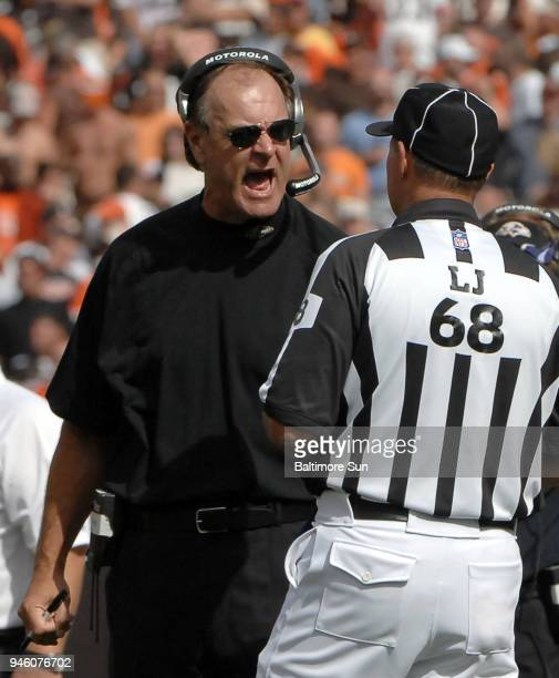 Baltimore Ravens head coach Brian Billick gives Line Judge Tom Stephan a piece of his mind during action against the Cleveland Browns at Cleveland...