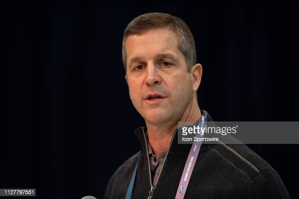 Baltimore Ravens head coach John Harbaugh answers questions from the media during the NFL Scouting Combine on February 27 2019 at the Indiana...