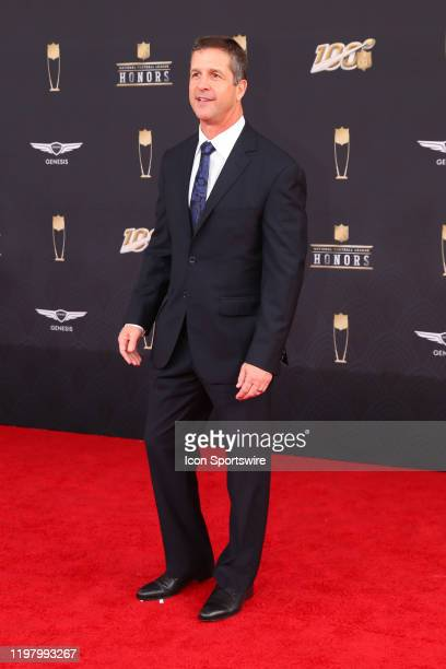 Baltimore Ravens head coach John Harbaugh poses prior to the NFL Honors on February 1 2020 at the Adrienne Arsht Center in Miami FL